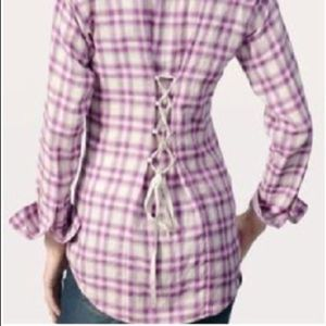CAbi Plaid Lace Up Back Button Down Shirt Top